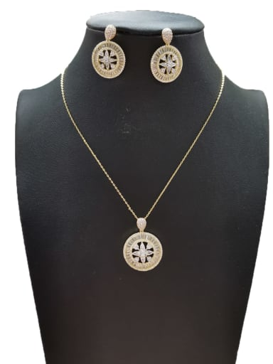 Trend Round Copper Cubic Zirconia White Earring And Necklace Set