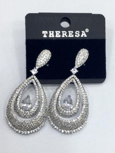 Copper Cubic Zirconia White Water Drop Luxury Drop Earring