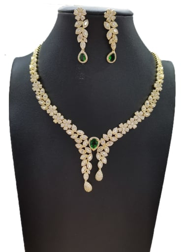 Green Dainty Flower Copper Cubic Zirconia White Earring And Necklace Set