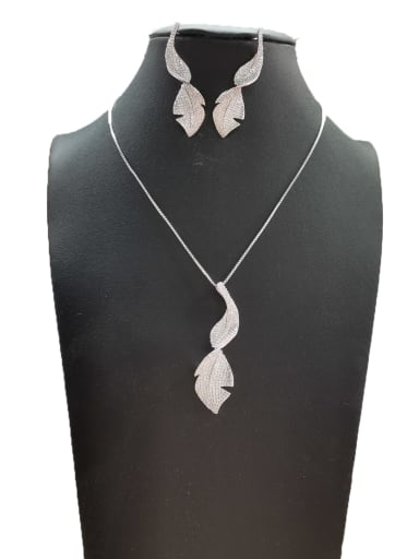 Bohemia Leaf Copper Cubic Zirconia White Earring And Necklace Set