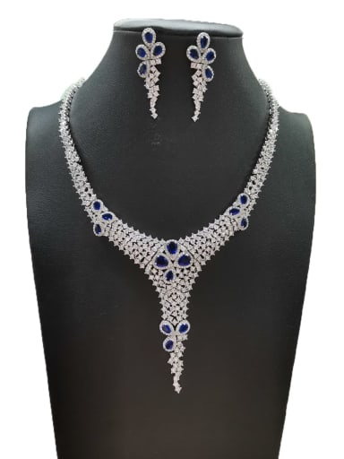 Blue Dainty Water Drop Copper Cubic Zirconia White Earring And Necklace Set