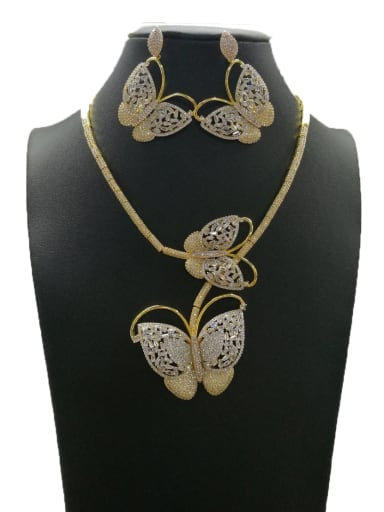 Dainty Butterfly Copper Cubic Zirconia White Earring And Necklace Set