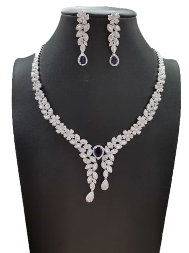 Blue Dainty Flower Copper Cubic Zirconia White Earring And Necklace Set