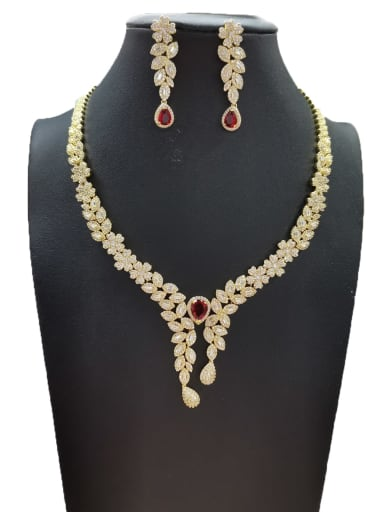 Red Dainty Flower Copper Cubic Zirconia White Earring And Necklace Set