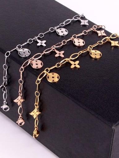Titanium Flower Dainty Link Bracelet