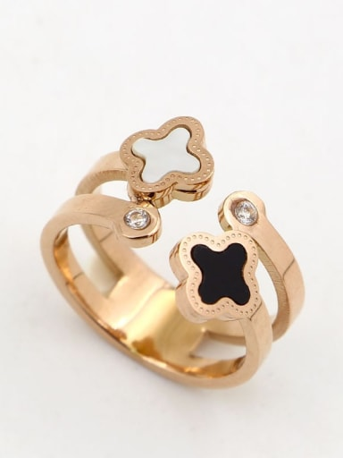 Titanium  Cubic Zirconia Clover Dainty Band Ring