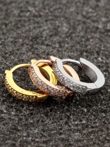 Titanium Rhinestone Round Minimalist Hoop Earring