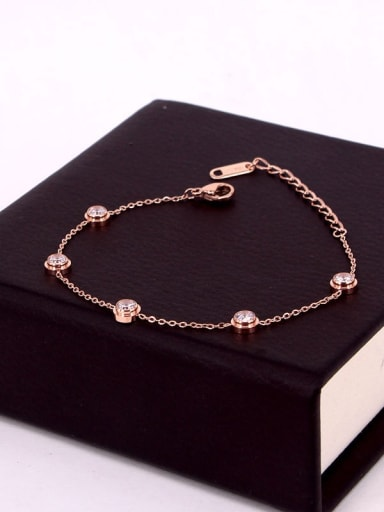 Titanium Cubic Zirconia Geometric Dainty Bracelet
