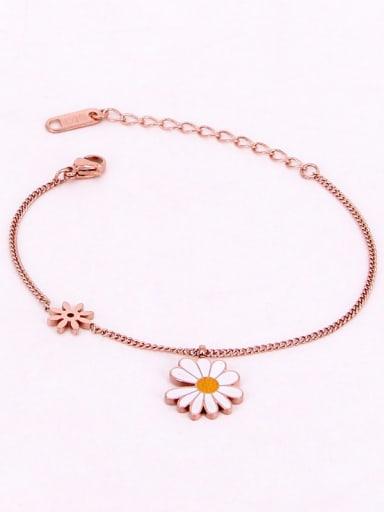 Titanium Enamel Flower Dainty Bracelet