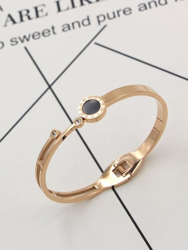 Titanium Cubic Zirconia Number Dainty Band Bangle