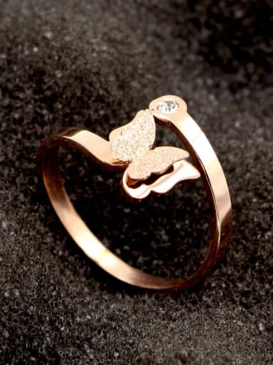 Titanium Cubic Zirconia Butterfly Dainty Band Ring