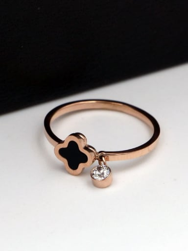 Titanium Four leaf clover  Cubic Zirconia Clover Dainty Band Ring