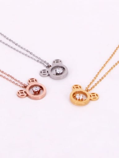 Titanium Cubic Zirconia Mouse Cute  Pendant Necklace
