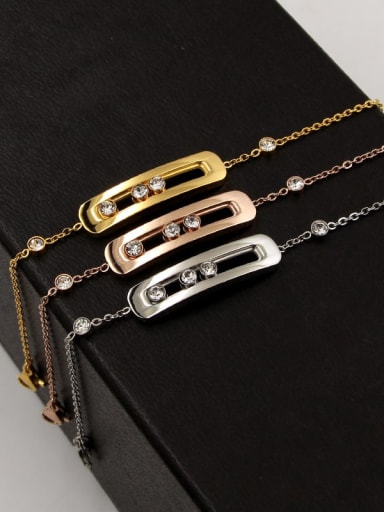 Titanium  rectangle Cubic Zirconia Geometric Dainty Bracelet