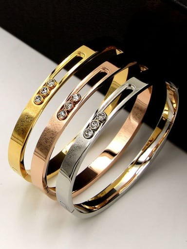 Titanium  Hollow Cubic Zirconia Geometric Minimalist Band Bangle