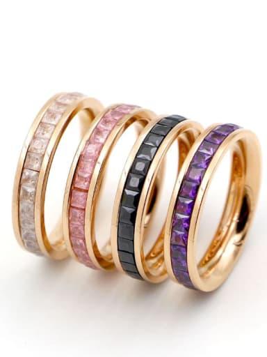 Titanium with Cubic Zirconia Multi Color Geometric Minimalist Band Ring