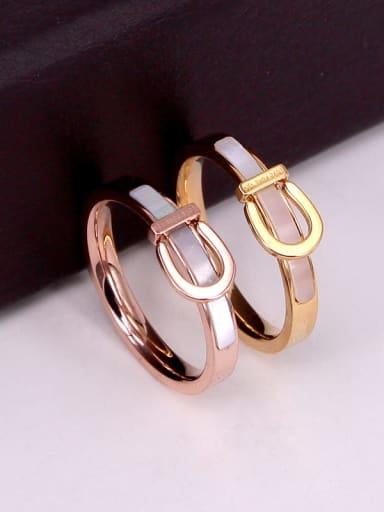 Titanium Shell Geometric Dainty Band Ring