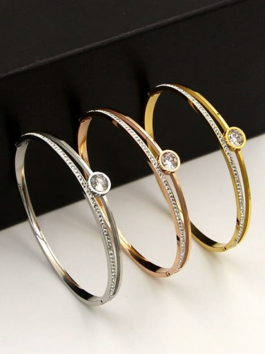 Titanium Cubic Zirconia Geometric Dainty Band Bangle