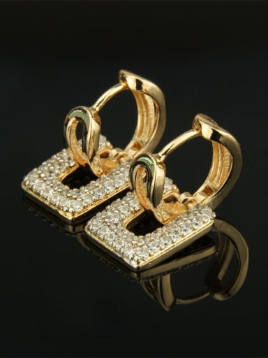 Gold plated white zircon Brass Cubic Zirconia Square Luxury Huggie Earring