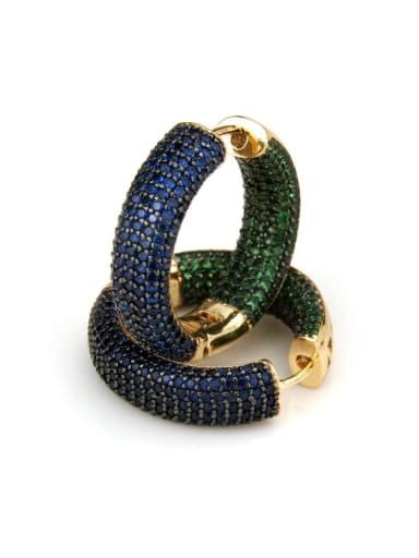Gold Plated blue green zircon Brass Cubic Zirconia Round Minimalist Hoop Earring