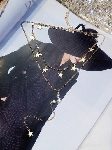 Zinc Alloy Rhinestone White Star Trend Lariat Necklace