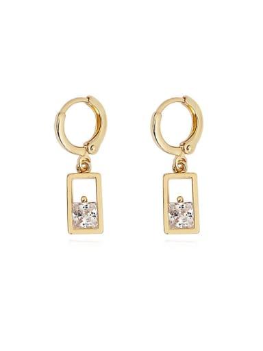 Copper Cubic Zirconia Geometric Minimalist Huggie Earring