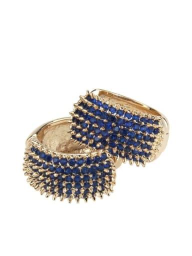 Large gold plated Blue Zircon Brass Cubic Zirconia Round Minimalist Hoop Earring