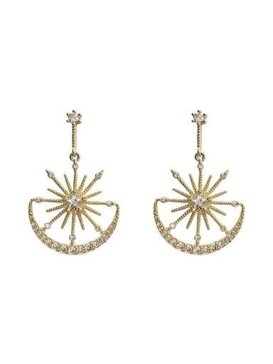 Alloy Cubic Zirconia Star Dainty Drop Earring