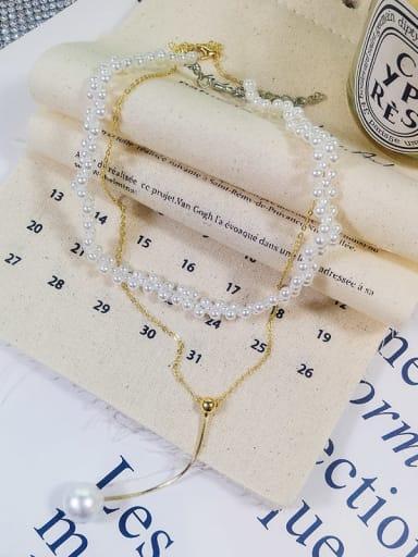 Zinc Alloy Imitation Pearl White Classic Multi Strand Necklace