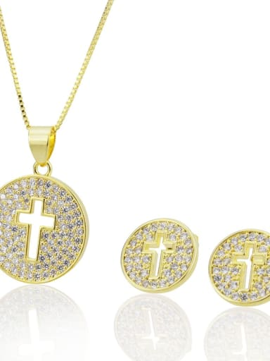 golden Brass Cross  Cubic Zirconia Earring and Necklace Set