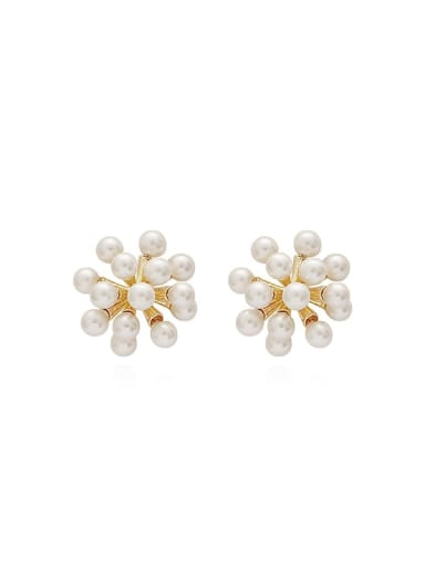 Copper Imitation Pearl Flower Dainty Stud Earring