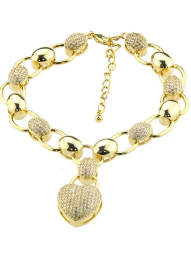 golden Brass Cubic Zirconia Heart Luxury Bracelet
