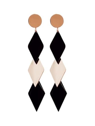 Titanium Enamel Geometric Minimalist long Drop Earring