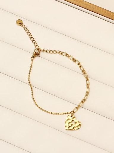 Love beating pattern Stainless steel Hollow Geometric Vintage Link Bracelet
