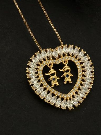 Male male blue Brass Cubic Zirconia Heart Dainty  Pendant Necklace