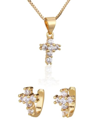Brass Cubic Zirconia Dainty Cross  Earring and Necklace Set