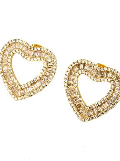Gold Earrings Brass Cubic Zirconia Heart Dainty Necklace