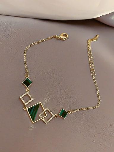 Bracelet. green Alloy Enamel Geometric Minimalist Link Bracelet