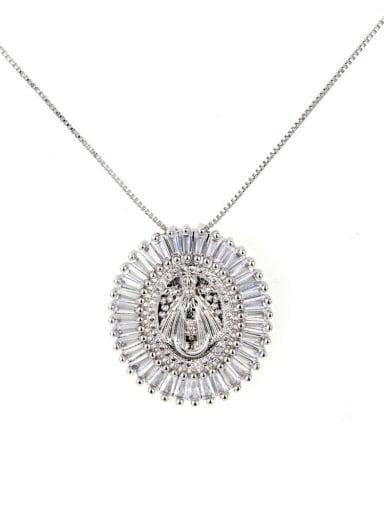 Platinum plating Brass Cubic Zirconia Round Vintage Regligious Necklace