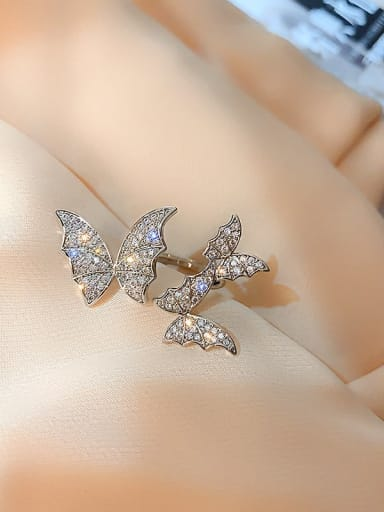 Alloy Rhinestone White Butterfly Trend Statement Ring/Free Size Ring