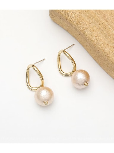 14K  gold Copper Freshwater Pearl Geometric Minimalist Huggie Earring