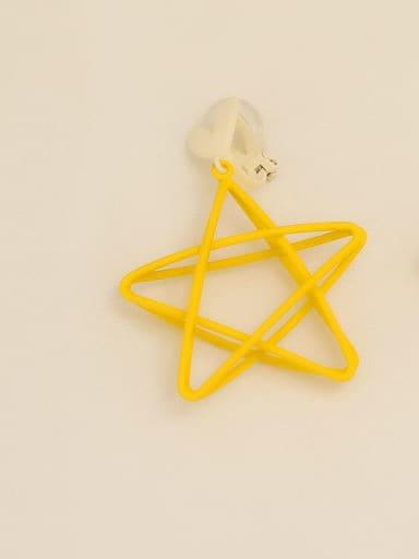 Yellow ear clip Copper Enamel Star Minimalist Stud Earring