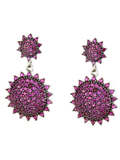 Platinum Plated Red Brass Cubic Zirconia Geometric Vintage Drop Earring