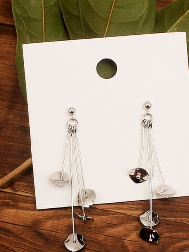 14K White Gold Plated Brass 14K Gold Plated Trend Drop Earring