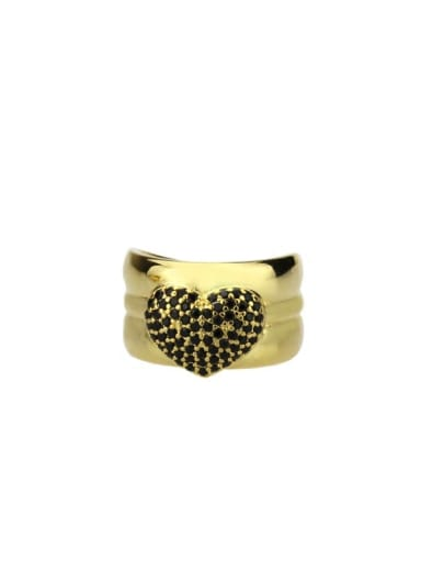 Gold Plated Black zirconium Brass Cubic Zirconia Heart Luxury Band Ring