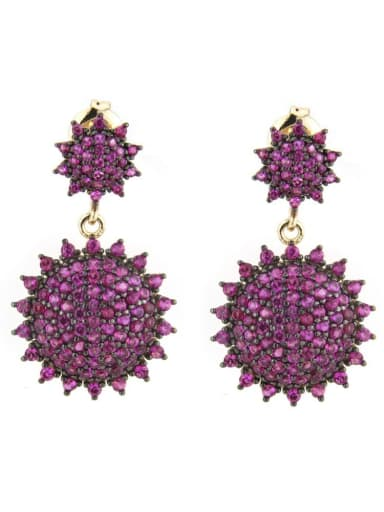Gold Plated Red Brass Cubic Zirconia Irregular Luxury Drop Earring