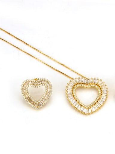 Gold set Brass Cubic Zirconia Heart Dainty Necklace