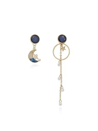 Copper Enamel Star Vintage Drop Earring