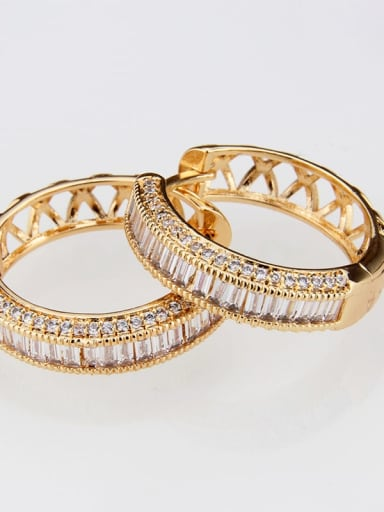 gold-plated Brass Cubic Zirconia Round Classic Hoop Earring