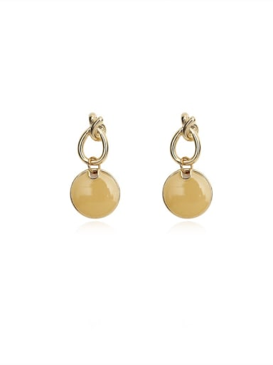 Copper Enamel Round Minimalist Drop Earring